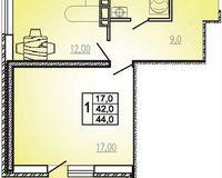1 комнатная квартира 44 кв. м