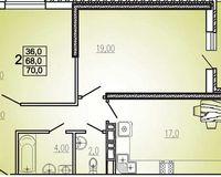 2 комнатная квартира 70 кв. м