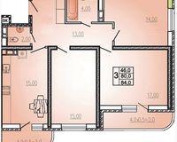 3 комнатная квартира 84 кв. м