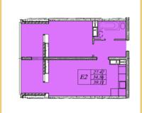2 комнатная квартира 39,11 кв. м