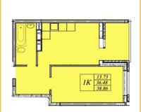 1 комнатная квартира 38,86 кв. м