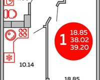 Площадь 39.2 кв. м