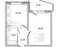 1 комнатная квартира 43,25 кв. м, тип 2