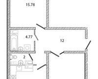 2 комнатная квартира 67,91 кв. м