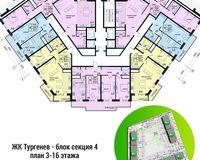 Секция 4, этажи 3-16