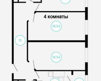 4 комнатная квартира 84,31 кв. м, вид во двор