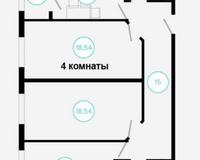 4 комнатная квартира 84,31 кв. м, вид на город