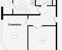 3 комнатная квартира 65,64 кв. м, вид на город