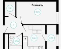 2 комнатная квартира 41,34 кв. м, вид на город