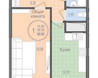1 комнатная квартира 42 кв. м