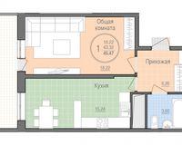 1 комнатная квартира 45,47 кв. м