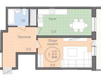 1 комнатная квартира 50,63 кв. м