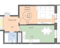 1 комнатная квартира 50,95 кв. м