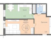 1 комнатная квартира 58,76 кв. м