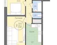 2 комнатная квартира 51,81 кв. м