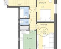 2 комнатная квартира 55,59 кв. м