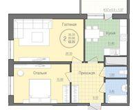 2 комнатная квартира 62,25 кв. м