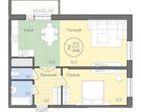 2 комнатная квартира 62,60 кв. м