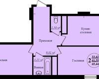 2 комнатная квартира 65,44 кв. м