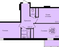 2 комнатная квартира 68,46 кв. м