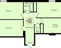 3 комнатная квартира 88,52 кв. м