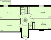 3 комнатная квартира 91,37 кв. м