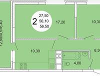 2-комнатная квартира 56.5 кв. м