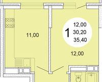 1-комнатная квартира 35.4 кв. м