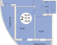 2-комнатная квартира 62 кв. м