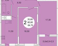 2-комнатная квартира 64.7 кв. м