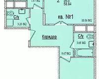 2 комнатная квартира 58,84 кв. м