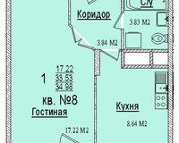 1 комнатная квартира 34,98 кв. м