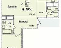 2 комнатная квартира 55,87 кв. м
