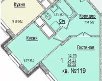 1 комнатная квартира 34,23 кв. м