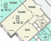1 комнатная квартира34,96 кв. м