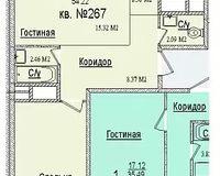 2 комнатная квартира 54,22 кв. м