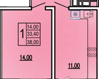 1 комнатная квартира 38 кв. м