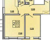 2 комнатная квартира 61 кв. м