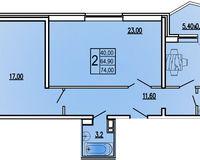 2 комнатная квартира 74 кв. м