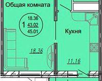 1 комнатная квартира 45,01 кв. м