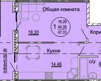1 комнатная квартира 47,33 кв. м