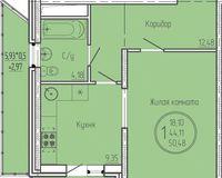 1 комнатная квартира 50,48 кв. м