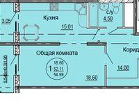 1 комнатная квартира 54,99 кв. м