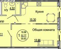 1 комнатная квартира 55,63 кв. м