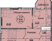 2 комнатная квартира 62,45 кв. м, тип 2