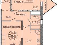 2 комнатная квартира 66,07 кв. м