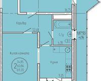 2 комнатная квартира 69,2 кв. м