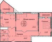 2 комнатная квартира 84,25 кв. м