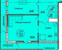 2 комнатная квартира 88,8 кв. м