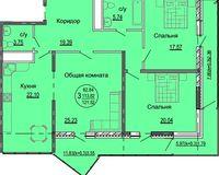 3 комнатная квартира 121,52 кв. м